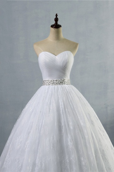 BMbridal Stylish Tulle Appliques Ball Gown Wedding Dresses Sweetheart Sleeveless Bridal Gowns with Beading Sash_5