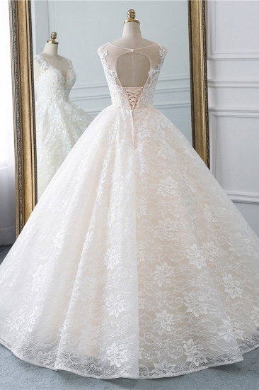 Exquisite Jewel Sleelveless Lace Wedding Dress Ball Gown appliques Bridal Gowns Online_3