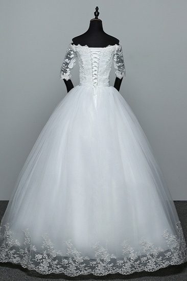 Gorgeous Off-the-Shoulder Sweetheart Wedding Dress Tulle Lace White Bridal Gowns with Half Sleeves_3