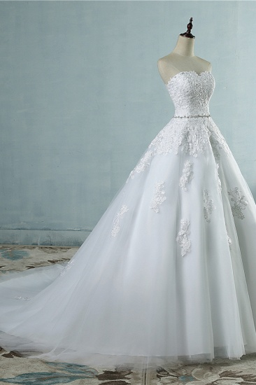 Sexy Strapless Sweetheart Tulle Wedding Dress Sleeveless Appliques Bridal Gowns with Beadings Sash_5