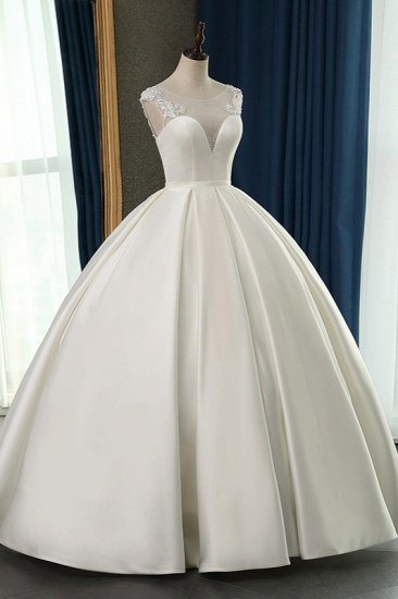 BMbridal Chic Satin Ball Gown Jewel Wedding Dress Sleeveless Appliques Ruffles Bridal Gowns On Sale_5
