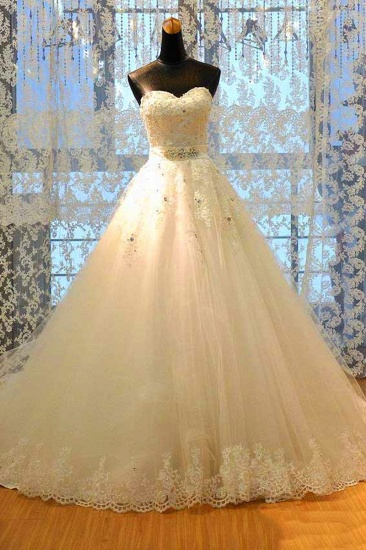 BMbridal Glamorous Strapless Sleevelsss Tulle Wedding Dress Sweetheart Appliques Bridal Gowns with Rhinestones On Sale_5