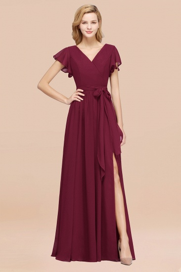 BMbridal Burgundy V-Neck Long Bridesmaid Dress With Short-Sleeves_44