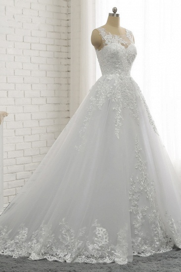 Chic A-Line Jewel Tulle Lace Wedding Dress Sleeveless Appliques Bridal Gowns with Beadings Online_4