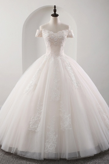 BMbridal Gorgeous Off-the-shoulder Pink A-line Wedding Dresses Tulle Ruffles Bridal Gowns With Appliques Online_5