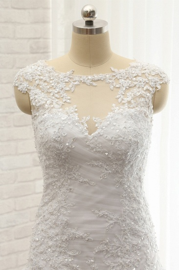 Modest Sleeveless Jewel Wedding Dresses With Appliques White Mermaid Bridal Gowns On Sale_5