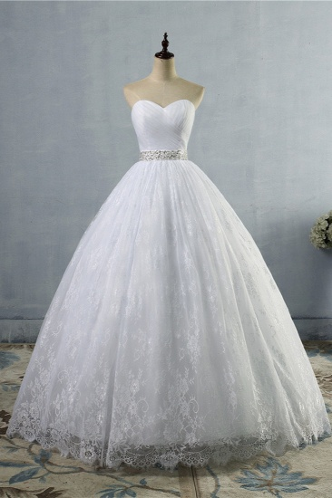 BMbridal Stylish Tulle Appliques Ball Gown Wedding Dresses Sweetheart Sleeveless Bridal Gowns with Beading Sash_1