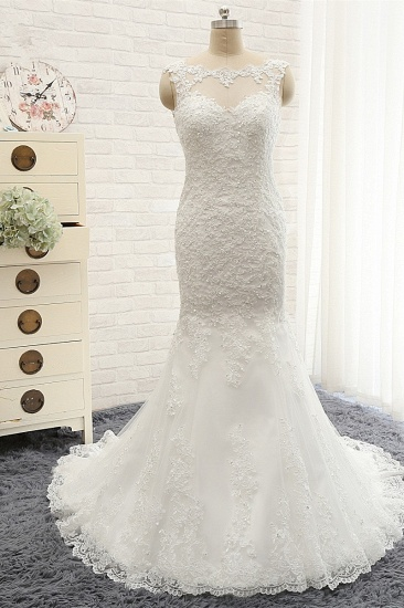 Gorgeous Sleeveless Appliques Beadings Wedding Dress Jewel Tulle White Bridal Gowns On Sale_1