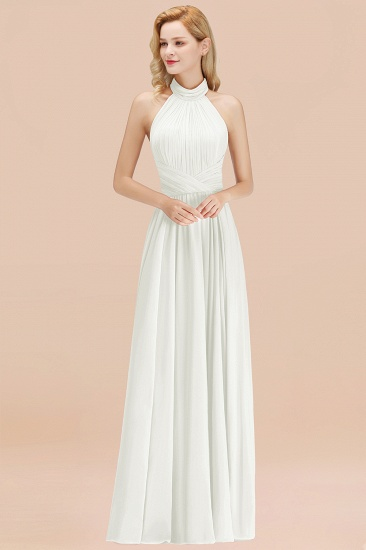 Gorgeous High-Neck Halter Backless Bridesmaid Dress Dusty Rose Chiffon Maid of Honor Dress_2