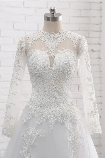 Modest Jewel White Tulle Lace Wedding Dress Long Sleeves Appliques A-Line Bridal Gowns On Sale_6