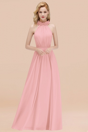 Modest High-Neck Halter Ruffle Chiffon Bridesmaid Dresses Affordable_4