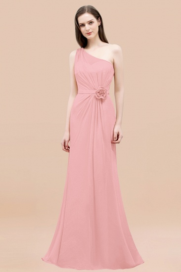 Affordable Mermaid One shoulder Pink Bridesmaid Dresses with Flowers_4