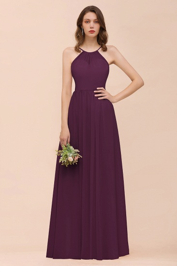 BMbridal Gorgeous Chiffon Halter Ruffle Affordable Long Bridesmaid Dress_20