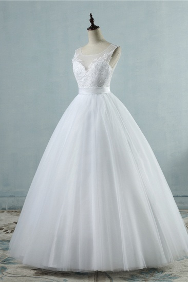 BMbridal Chic Square Neckling Sleeveless Wedding Dresses White Tulle Lace Bridal Gowns On Sale_4