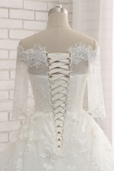 Gorgeous Bateau Halfsleeves White Wedding Dresses With Appliques A-line Tulle Ruffles Bridal Gowns Online_6