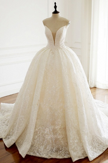 Sexy Deep-V-Neck Strapless Tulle Wedding Dress Sleeveless Lace Appiques Bridal Gowns On Sale_4