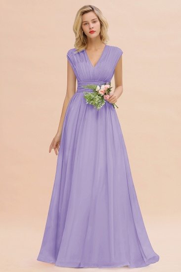 Elegant Chiffon V-Neck Ruffle Long Bridesmaid Dresses Affordable_21