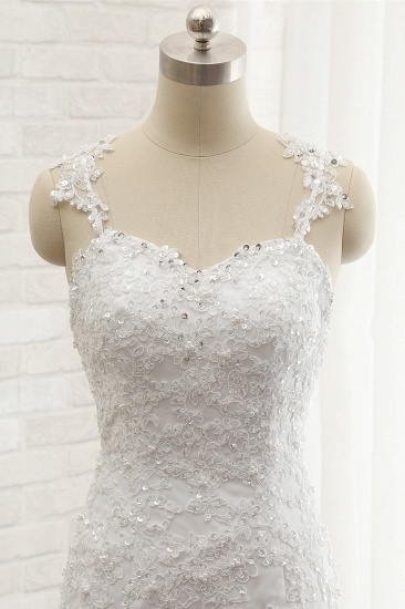 BMbridal Elegant Straps Sweetheart Lace Wedding Dress Sexy Backless Sleeveless Appliques Bridal Gowns with Beadings_5