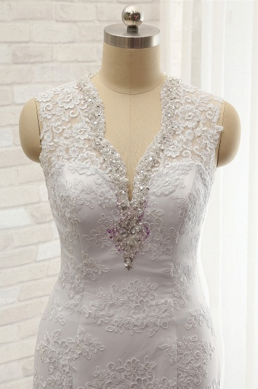 Chic Mermaid V-Neck Lace Wedding Dress Appliques Sleeveless Beadings Bridal Gowns On Sale_5
