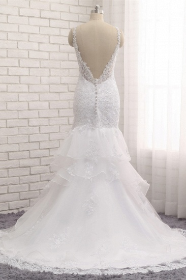 BMbridal Elegant V-neck White Mermaid Wedding Dresses Sleeveless Lace Bridal Gowns With Appliques On Sale_3