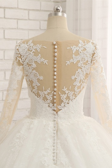 BMbridal Affordable White Tulle Ruffles Wedding Dresses Jewel Longsleeves Lace Bridal Gowns With Appliques Online_6