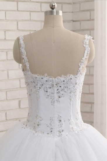 BMbridal Stunning White Tulle Lace Wedding Dress Strapless Sweetheart Beadings Bridal Gowns with Appliques_6