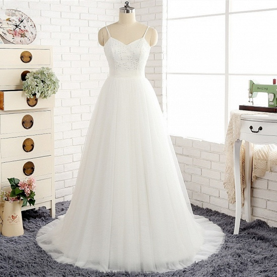 Affordable Spaghetti Straps White Wedding Dresses A-line Tulle Ruffles Bridal Gowns On Sale_7