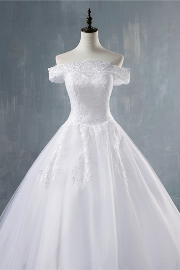 Gorgeous Off-the-Shoulder White Tulle Wedding Dress Lace Appliques Bridal Gowns On Sale_6