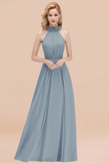Modest High-Neck Halter Ruffle Chiffon Bridesmaid Dresses Affordable_40
