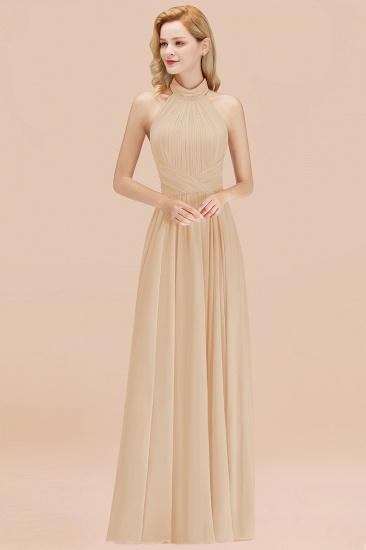 Gorgeous High-Neck Halter Backless Bridesmaid Dress Dusty Rose Chiffon Maid of Honor Dress_14