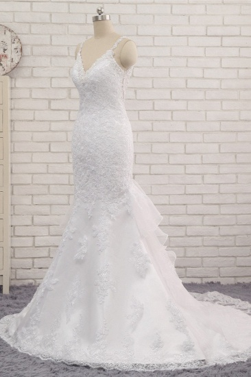 BMbridal Elegant V-neck White Mermaid Wedding Dresses Sleeveless Lace Bridal Gowns With Appliques On Sale_4