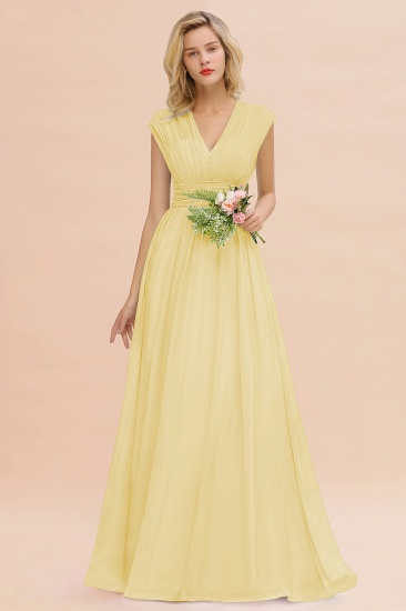 Elegant Chiffon V-Neck Ruffle Long Bridesmaid Dresses Affordable_18