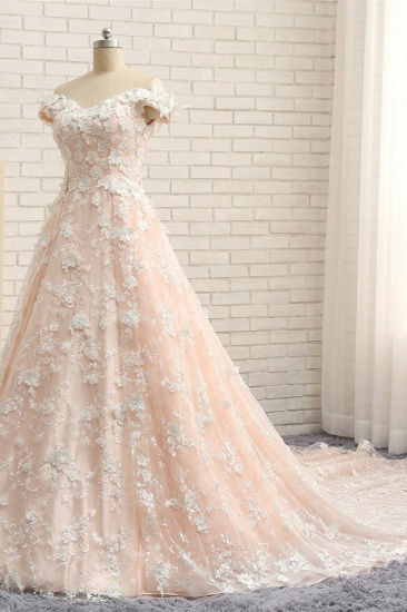 BMbridal Chic Off-the-shoulder Pink A-line Wedding Dresses With Appliques V-neck Lace Bridal Gowns Online_4