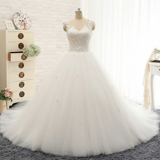 Chic Straps Sleeveless Tulle Wedding Dresses With Appliques White A-line Bridal Gowns Online_7