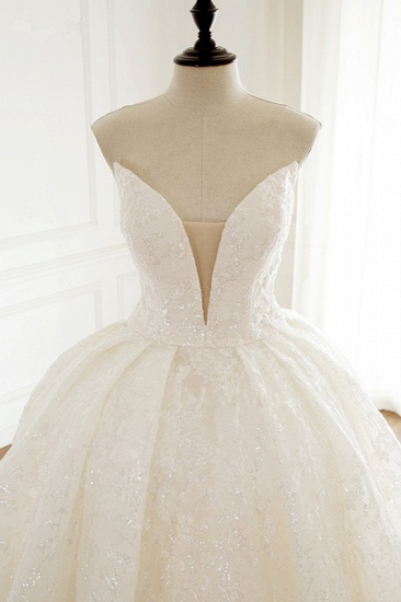 Sexy Deep-V-Neck Strapless Tulle Wedding Dress Sleeveless Lace Appiques Bridal Gowns On Sale_6