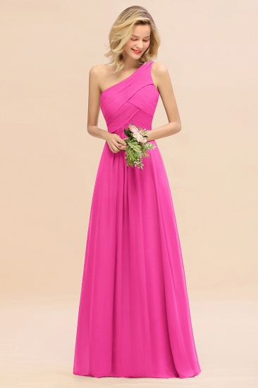 Chic One Shoulder Ruffle Grape Chiffon Bridesmaid Dresses Online_9
