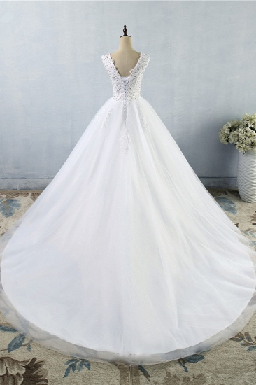 Stunning V-Neck Sequins Tulle Wedding Dresses A-Line Lace Appliques Bridal Gowns Online_3