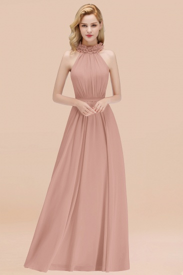 Modest High-Neck Halter Ruffle Chiffon Bridesmaid Dresses Affordable_6