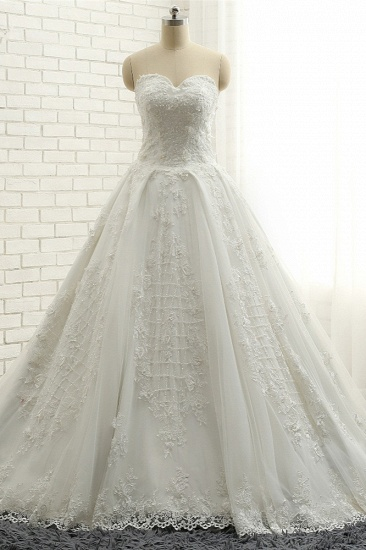 BMbridal Glamorous Sweetheart A-line Tulle Wedding Dresses With Appliques White Ruffles Lace Bridal Gowns  Online_1