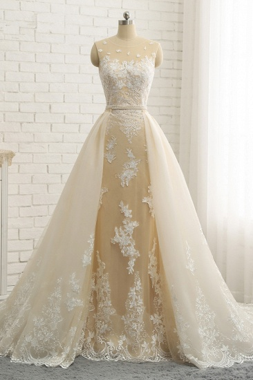 Glamorous Jewel Tulle Champagne Wedding Dress Appliques Sleeveless Overskirt Bridal Gowns with Beading Sash Online_1