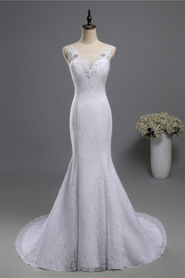 BMbridal Affordable Jewel Lace Sequins Mermaid Wedding Dress Sleeveless Appliques Bridal Gowns with Crystals_2