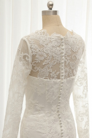 BMbridal Chic White Satin Mermaid Wedding Dresses Jewel Longsleeves With Appliques On Sale_6
