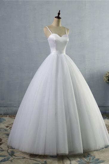 BMbridal Glamorous Spaghetti Straps Sweetheart Wedding Dresses White Sleeveless Bridal Gowns Online_4