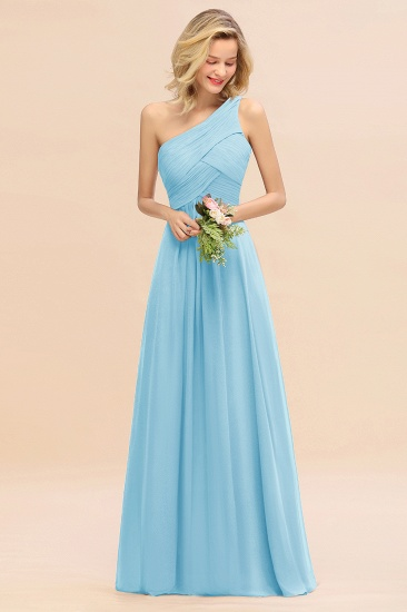 Chic One Shoulder Ruffle Grape Chiffon Bridesmaid Dresses Online_23