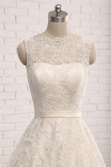 Chic Champagne Jewel Sleeveless Wedding Dresses A-line Lace Bridal Gowns With Appliques On Sale_5
