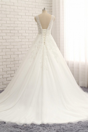 Gorgeous Straps Sleeveless White Wedding Dresses With Appliques A-line Tulle Ruffles Bridal Gowns Online_3