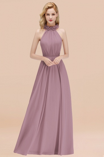 Modest High-Neck Halter Ruffle Chiffon Bridesmaid Dresses Affordable_43