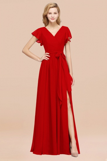 BMbridal Burgundy V-Neck Long Bridesmaid Dress With Short-Sleeves_8