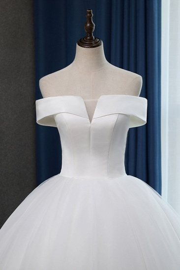 Glamorous Off-the-shoulder A-line Tulle Wedding Dresses White Ruffles Bridal Gowns On Sale_6