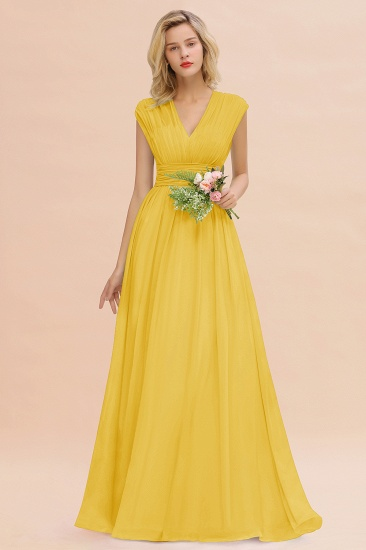 Elegant Chiffon V-Neck Ruffle Long Bridesmaid Dresses Affordable_17